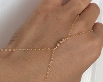 Three Gemstone Beaded Gold Hand Chain also available in Silver and Rose Gold