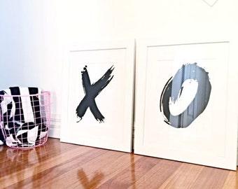 XOXO Prints KISSES & HUGS posters 8x 10 Print (A4)
