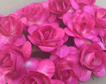 Set of 12 Hot Pink Mulberry Paper Roses