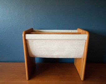 Danish Teak and Canvas Magazine Rack