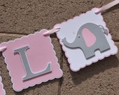 "Elephant Baby Shower Banner , It""s A Girl,  Pink , White and Grey, New Baby, Party Banner, New Baby Celebration"
