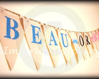 Beau or Bow -Baby Gender Reveal Party-party banner- baby shower-Little Man Party-Baby Shower banner-Boy or Girl-Mustache Party-Baby