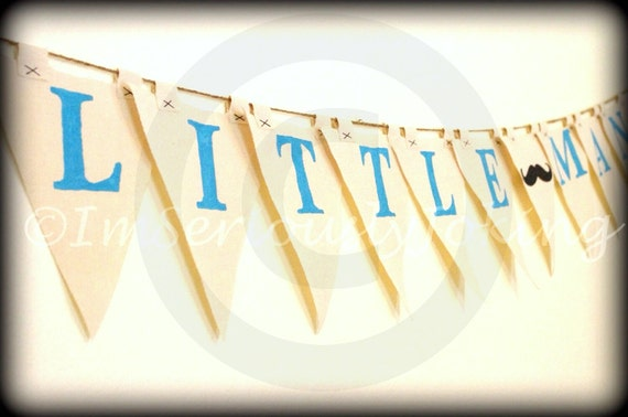 Little Man Banner-Little Man Party-Mustache Party-Baby Shower Banner-Gender Reveal Banner-Party Banner-Mustache-Blue & Black-Baby Boy Banner