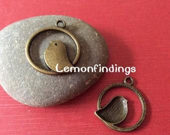 100 antique bronze 25mm birdcage pendant findings