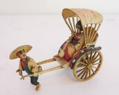 Celluloid Japanese Figurine Rickshaw Moving Wheels Hand Painted