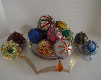 Vintage Set of Fourteen Handmade Embellished Ornaments, Faux Pearls, Sequins, Ribbons, Faux Gems, Holiday Decor, Circa 1960's
