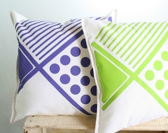 Geometrical cushion covers -Violet and green decorative pillow  -Hand printed cushion in purple or lime green onto natural color cotton
