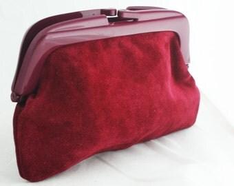 Clutch - Maroon Italian Suede Medium Evening Bag