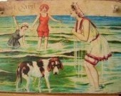 Vintage style, bathing ladies with dog, seaside postcard image sealed onto wood with string to hang.