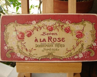 vintage French savon a la rose, soap advertising label, wooden sign, shabby chic Paris decor