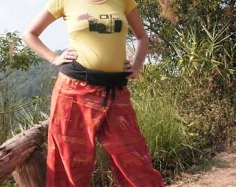 Fisherman  Pants, Thai Pants, Cotton, Orange & Gold with pocket, elephants horizontal pattern -- yoga clothing--