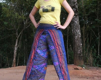 Thai Pants in unique design, Blue with front red stripes