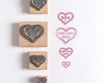 Wedding/Save the Date Rubber Stamp Leaf Heart Custom
