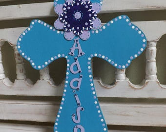 Floral Wall Cross Gift New Baby Child Christening Baptism Gift Spiritual Custom Personalized First Communion Confirmation
