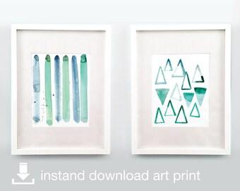 Emerald Duo - Digital Download Printable Watercolor Art