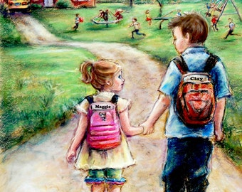 PERSONALIZED, Little sister Big brother art Print  school boy and girl Names and Hair-color added Laurie Shanholtzer