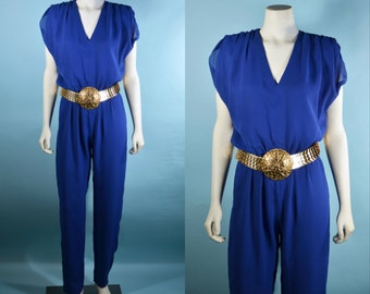 Vintage 70s Blue Disco Jumpsuit, Shoulderpads V Neckline Slim Pant Leg Jumpsuit, Raver Boho Party Clubbing Outfit S/M