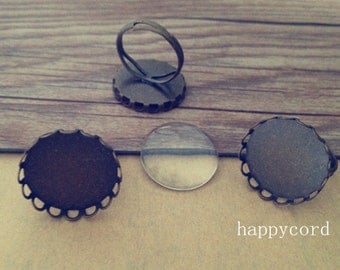 10 pcs antique bronze (copper) adjustable ring bases with glass 20mm