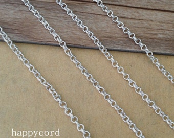 16ft silver corol (copper) Link pendant chain 2mm