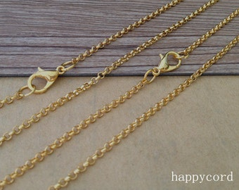 100pcs  20inch gold corol (copper) Link chain With Lobster Clasp 2mm