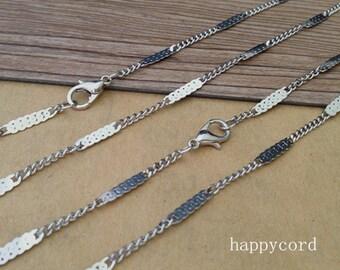 30pcs 19inch White K flat shape necklace pendant chain 3mm