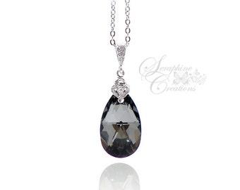 Dark Grey Necklace Silver Night Crystal Swarovski Pendant Wedding Jewelry Bridesmaid Gift Bridesmaid Necklace Cubic Zirconia Dark Grey W02