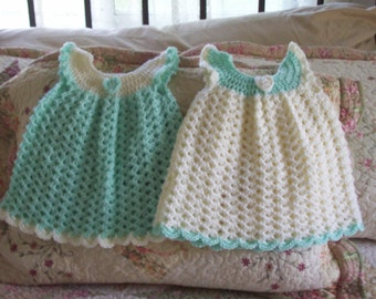 Twins,Dresses,Girls,Babies,Infants,Newborn,Three Months,Crocheted,Gift,Photos,Mint,Cream,Shower,Girl,Baby,Infant