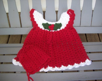 Baby,Girls,Photo Prop,Red,Christmas,Holly,3-6 Months,Bonnet,Crocheted,Sparkly,Gift,Dress,Clothing,Infants,Holidays