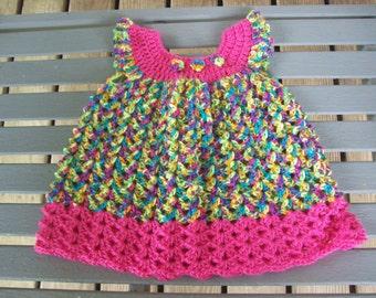 Dress,Crocheted,Newborn-Three Months,Photos,Baby,Girls,Infants,Gift,Multi Color,Dark Pink
