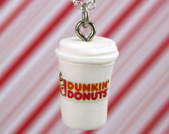 dunkin donuts necklace kawaii polymer clay charms miniature food jewelry polymer clay food necklace coffee necklace dunkin donuts charm