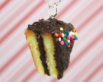 chocolate cake necklace kawaii polymer clay charms miniature food jewelry polymer clay food necklace rainbow cake necklace cake slice charm