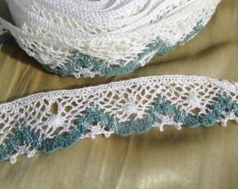 Spruce Green & Cream - 12 yards - Crochet Style