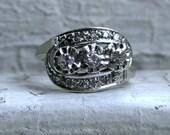 Wonderful Vintage 14K White Gold Diamond Three Stone Stone Ring - 0.50ct.