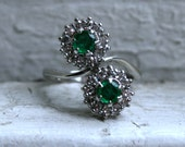 Cool Retro Vintage 14K White Gold Emerald and Diamond Halo Twin Stone Ring - 0.98ct.