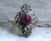 Vintage 14K Yellow Gold Diamond and Ruby Ring Engagement Ring Wedding Ring - 2.70ct.