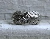 Leafy Retro Vintage 14K White Gold Diamond Engagement Ring - 0.24ct.