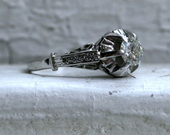 Vintage Platinum Engagement Ring - 0.56ct.