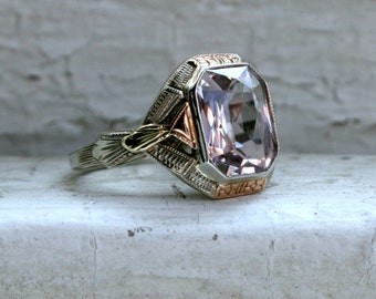RESERVED - Vintage 14K White Gold Kunzite Engagement Ring - 3.00ct.