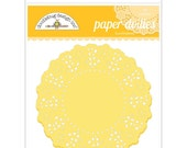 Bumblebee Yellow Paper Doilies 4.5 Inch Set of 75 by Doodlebug Designs for Scrapbooks, Crafts, Food Crafts, and More