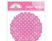 Bubblegum Pink Polka Dot Paper Doilies 4.5 Inch Set of 75 by Doodlebug Designs for Scrapbooks, Crafts, Food Crafts, and More