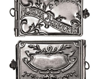 Tim Holtz Souvenir Album Locket Pendant in Antique Silver Nickel Finish