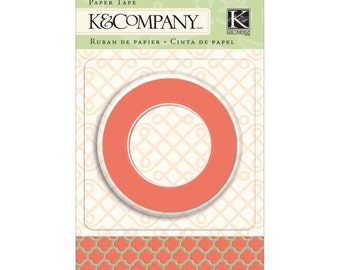 Deep Coral and Gold Foil Moroccan Window Washi Tape by K and Company - 15mm Wide and 10m Long