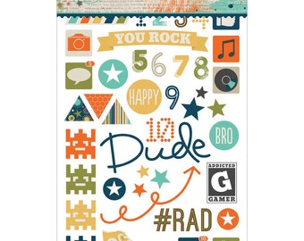 So Rad 97 Clear, Color, and B/W Plastic Stickers, 3 4x6 Sheets Great for Gamers, Use on Scrapbooks and Photos -