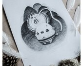 PRINT Fine ART Drawing Illustration Pencil Drawing Graphite Nursery Home DECORATION Postcard Kawaii - Light in the Dark