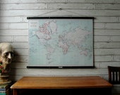 Vintage World Map Pull Down Reproduction with Canvas Print and Oak Wood and Brass Hanger / World Map 1915