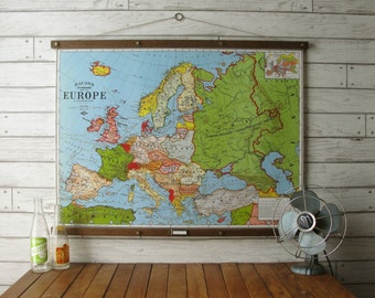 Map of Europe / Vintage Pull Down Reproduction / Canvas Fabric or Paper Print / Oak Wood Hanger with Brass Hardware / Organic Finish