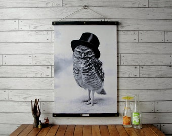 Top Hat Owl Chart / Vintage Reproduction / Canvas Fabric or Paper Print / Oak Wood Hanger wtih Brass Hardware / Organic Wood Finish