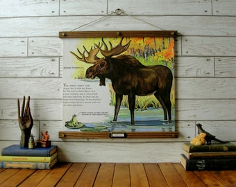 Mighty Moose Chart / Vintage Pull Down Reproduction / Canvas Fabric or Paper Print / Oak Wood Hanger and Brass Hardware / Organic FInish
