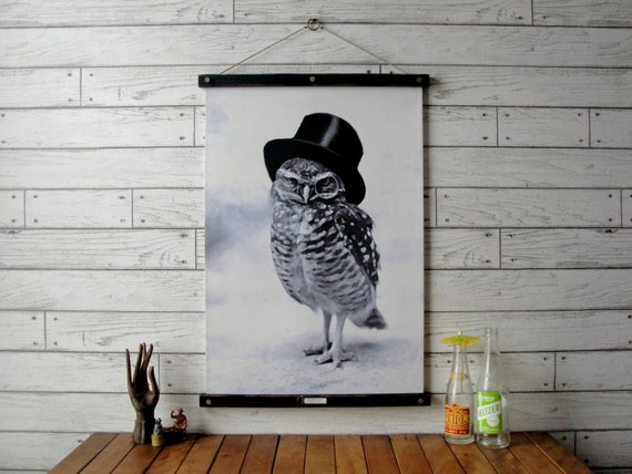 Vintage Owl Pull Down Chart Reproduction with Canvas Print and Oak Wood and Brass Hanger / Top Hat Owl