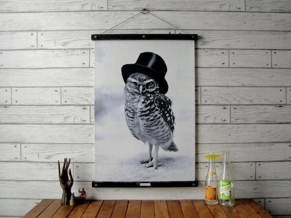 Top Hat Owl Chart / Vintage Reproduction / Canvas or Paper Print / Oak Wood Hanger wtih Brass Hardware / Organic Milk Paint & Wax Finish